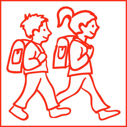 Line drawing of 2 children, a boy and a girl, with backpacks.