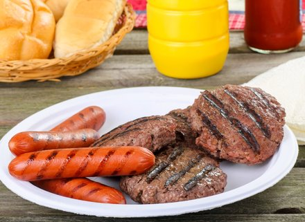 Photo of grilled hot dogs and hamburgers
